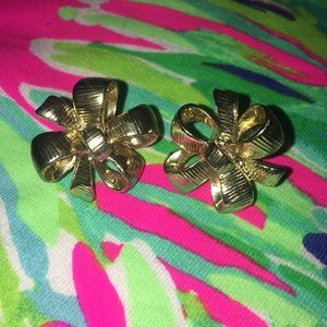 Lilly Pulitzer starburst flower bow earrings gold